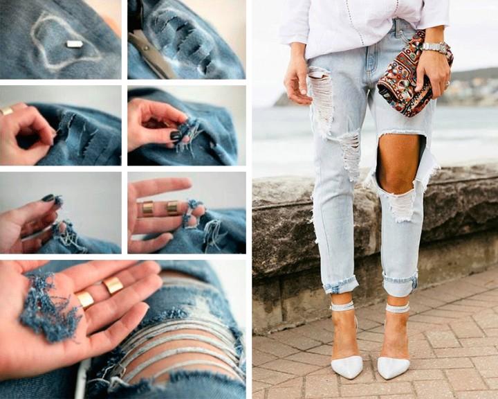Как правильно сделать разрезы на джинсах своими руками 60