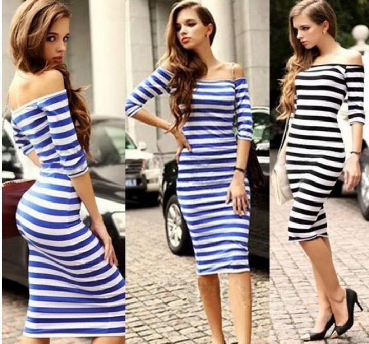 Платье миди в полоску с чем носить